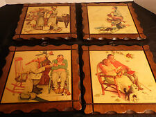 Vintage 4  Norman Rockwell Wall Plaques Wood Wall Hangings