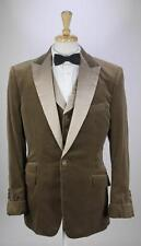*TIMOTHY EVEREST* Bespoke London Light Brown Velvet Tuxedo Dinner 3-Pc Suit 40L
