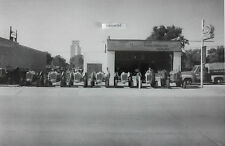 "12 By 18"" Black & White Picture Row of ""Jubilee"" Ford Tractors at Dealership"