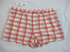NWT Lacoste Women's Board Shorts Pink & Blue Plaid Size 42/10  GF4502
