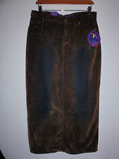 NWT Long Hippy Boho Gypsy Jean 2 tone distressed stretch skirt  size 5/6