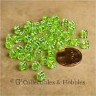 NEW 5mm Deluxe Rounded Edge D6 50 Transparent Lime Green Tiny Mini RPG Game Dice
