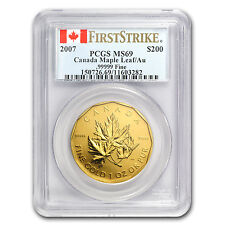 2007 1 oz Gold Canadian Maple Leaf .99999 Fine - MS-69 First Strike PCGS