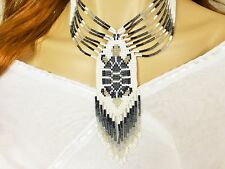TURTLE GREY CHUNKY NATIVE STYLE INSPIRED BEADED NECKLACE EARRINGS SET