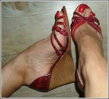 RARE RED real SNAKESKIN leather WEDGE heel 8 SHOE strappy DESIGNER stylish NEW