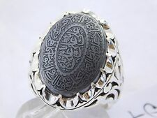 BEAUTIFUL HAND MADE COSTUME CARVE CUT MEN'S SILVER RING, CARVE HOLLY WORD HADID