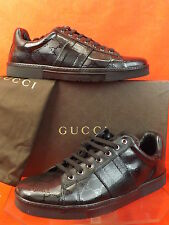 NIB GUCCI BLACK IMPRIME LEATHER ACE GG GUCCISSIMA WEB SNEAKERS 5 6 $470
