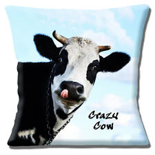 "NEW Funny Novelty Kitsch Black & White Cow Crazy Cow  16""  Pillow Cushion Cover"