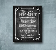 Sign a Heart Chalkboard Style Wedding sign guestbook alternative - 5x7