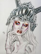 BJD Goth Warrior Girl Portrait Art Signed Original pen&Ink Drawing  A3