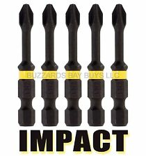 "NEW 5-Pack DeWalt 1/4"" x 2"" Phillips IMPACT Driver Bit, FREE US Ship DWA2PH2IR5"