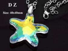 c002147 Faceted Crystal Glass Clear AB Starfish Shape Bead Pendant Necklace