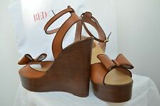 RED VALENTINO Shoes Handmade ITALY 40 Wood Leather Heels Wedges Rare BARGAIN