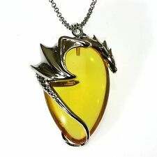 Basking Draca Amber Crystal Keeper Dragon Pendant Necklace Anne Stokes CK06