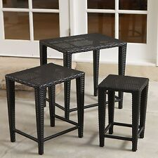 Outdoor Patio Furniture 3pc Black Wicker Nested Tables Set