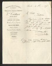 """PARIS (X°) VERRERIE de BAGNEAUX-sur-LOING (77) PORCELAINES """"CARTISER"""" en 1885"""