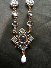 Blue Elegant Beaded Cabochon Stones Filigree Necklace Copper tone