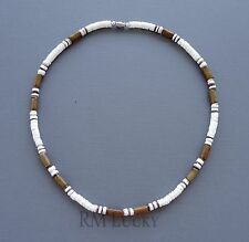 """Men Surfer Choker Necklace Natural Smooth Shell w/wood beads Screw Clasp 18"""""""