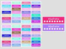 Hydrate Checklist Planner & Calender Stickers, 2 Sheets, 56 Kiss Cut Stickers