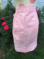 VINTAGE PINK & WHITE GINGHAM CHECK HALF APRON WITH CHICKEN SCRATCH EMBROIDERY