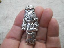 "Vintage Sterling Silver PRECIOUS MOMENTS Guardian Angel 6.5g Brooch -1 7/8"" Pin"