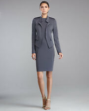 ST. JOHN COUTURE – Milano Knit Crystal Sleeve Angled Open Front Jacket – Size 6