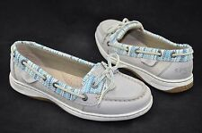 Sperry 'Angelfish' Women's Multi Color Raffia and Gray Leather Boat Shoe Size 6M