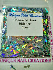 Solvent Resistant High Heel SHOE Holo Silver~ Acrylic/Gel/ Nail Art~ USA