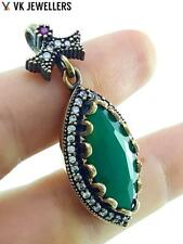 925 STERLING SILVER TURKISH HANDMADE JEWELRY EMERALD ANTIQUE PENDANT P1859