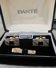 Dante Gold-Tone and Onyx Cufflinks and Tie Bar, New Old Stock