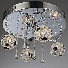NEW 4-Light Modern Crystal Flash Mount Ceiling Pendant Mesh Wire Lamp Evrosvet