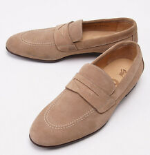 NIB $950 SUTOR MANTELLASSI Beige Calf Suede Penny Loafers US 7 Dress Shoes