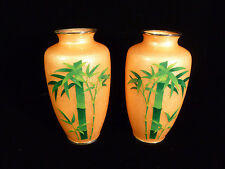 PAIR OF SIGNED VINTAGE JAPANESE RARE PEACH-COLORED CLOISONNE FOIL BAMBOO VASES