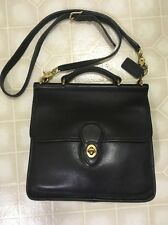 Vtg COACH WILLIS Black Leather Messenger Crossbody Satchel Purse Bag 9927