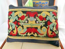 Pillow Antique Vintage Embroidered  Bolster Cushion Tapestry Needlework Floral