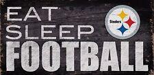 "Pittsburgh Steelers Eat Sleep Football Wood Sign - NEW 12"" x 6""  Decoration Gift"