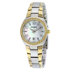 Fossil Colleague Mother of Pearl Dial Two-tone Ladies Watch AM4183