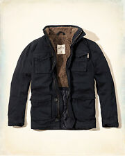 NEW Men's Hollister by Abercrombie & Fitch Military Sherpa Jacket Twill MED Navy