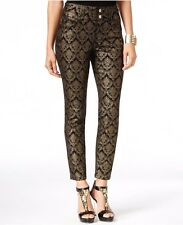 New-Size 10-Thalia Sodi-Womens Ankle Pants-Damask Metallic Gold/Black-Skinny Leg