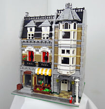 Lego CUSTOM Modular Green Grocer 10185 Masonry brick facade! w/ Instructions!
