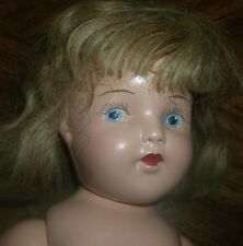 18-in unmarked 1940s compo doll, painted eyes, wig, NUDE