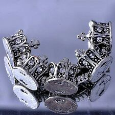 free shipping 5pcs rhinestone european silver crown charms beads Fit Bracelet