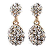 CLIP ON EARRINGS gold plated drop earring with cluster clear diamantes - Mia G