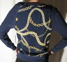 JUICY COUTURE Navy Chain Link Print Pullover Fleece Small $158 NWT