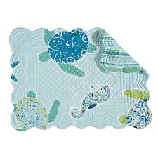 "Set of 4,13x19"" Quilted Scallop Edge Placemat,Imperial Coast,862621720"