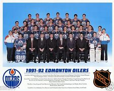1991-92 EDMONTON OILERS NHL HOCKEY TEAM 8X10 PHOTO PICTURE