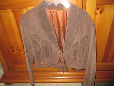 Women's, Size Small, Brown Suede Leather Fringe Jacket, Excellent Condition-Nice