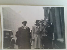 Vintage 1940s B/W Photograph. Man & Woman with Baby in a London Smog Street