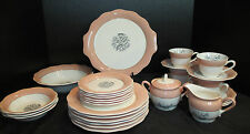 French Saxon China Dusty Rose Peach 22 K Gold Trim  30 Pieces Gray Center Flower