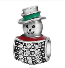 1Pcs White Crystal Snowman Ornaments Charms Silver bead For Bracelet/Necklace